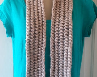 Crocheted Scarf - Tan, Olive, Gray