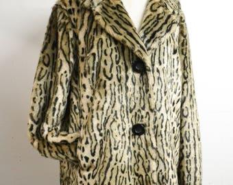 1960s Ocelot print faux fur coat / 60s leopard print half belt jacket / L