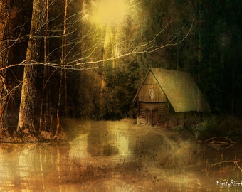 Horror Print - House in the Woods, Cabin in the Woods, A4 , Creepy Print, Dark Print, Digital Art, Lonely, Derelict, Empty, Forest, Woodland