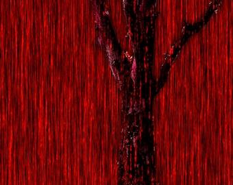Horror Print - Raining Blood, Woods, Red Wood, Blood, Trees, A3, Horror Scene,Dark Print, Digital Art,Horror Art,Dark Art, Red Print, 0081