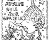 Mermaid Instant Download Fantasy Coloring page Adult coloring pages digi stamp