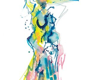 "Original Abstract Watercolor Fashion Illustration featuring Unique Figure, 9"" x 12"" - A23"