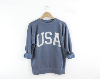 New Big USA Retro Comfort Colors Blue & White Crewneck Sweatshirt Pullover // You Pick Color // Size S-3XL