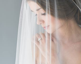 Veil, Silk Veil, Silk Wedding Veil, Silk Tulle Drop Veil, Silk Tulle Chapel Length Veil, Silk Drop Veil - AMORE