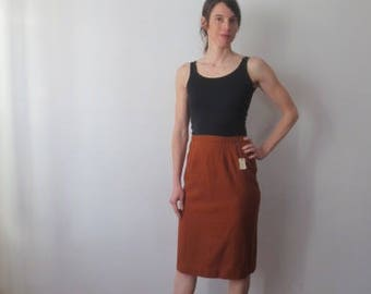 Stunning Vintage '50s Deadstock Wool Pencil Skirt w/ Incredible Embroidered Dart Detail! NWT, 28 Inch Waist