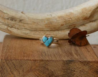 Made To Order - Turquoise Heart Cabochon Ring in Sterling Silver