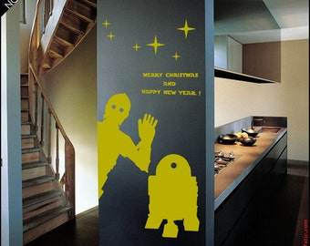 STAR WARS Wall DECAL :  C3-Po and R2D2 droids wishing Merry Christmas, Happy New Year, Christmas geek decor, Robot decal, Xmas decor