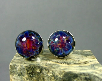 Solar Flare Purple Lampwork Glass Earring Studs - Sterling Silver - 10mm Round