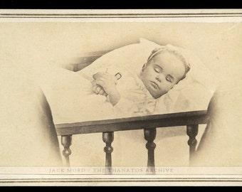 1860s Post Mortem CDV - Little Girl in Crib Holding Tiny Doll - Free Thanatos.net Shipping!