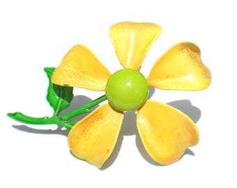 Bright Yellow Enamel Flower Power Brooch  - Vintage Jewelry Gift for Her