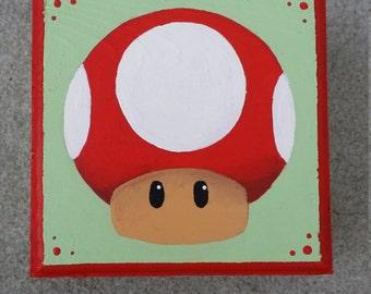 Hand Painted Mario Bros Mushroom Treasure / Gift Box