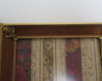 Mid Century Chic Vintage 5 x 7  Brass and Wood Picture Frame Easel Back