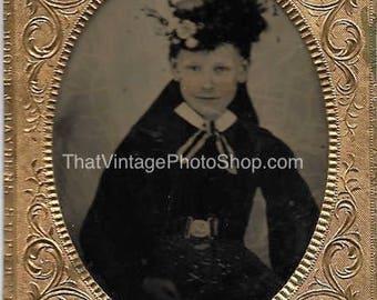 Digital Vintage Photo Tintype Pretty Victorian Girl