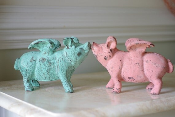Home Decor Cast Iron Flying Pig Seaside Pig