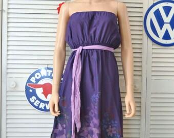 Vintage 70s Women's Strapless Sun Dress Beach Cover/Dark Purple Tropical Floral Print/Elastic Bodice & Waist/Theater Costume Medium as is