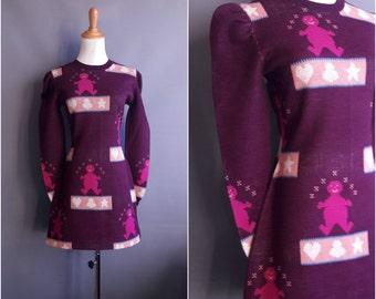 1970s drunk gingerbread man minidress Cookies / Sue Elayne purple sweater dress pop art tunic 70s sweater dress vintage minidress mini dress