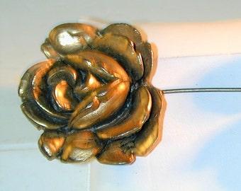 Victorian Revival Double Rose Jabot Pin H. Pomerantz Inc. NY