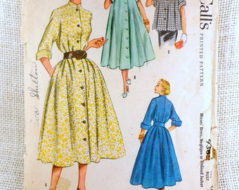 Vintage Pattern McCall's 9385 housecoat housedress tentRobe negligee coat 1950s Lucille Ball New Look Bust 34 Duster dress Brunch Coat