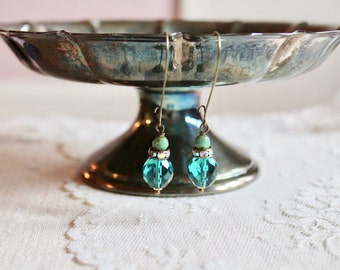 Marbled patina green, rhinestone, and transparent teal green glass bead drop earrings, kidney wire earrings