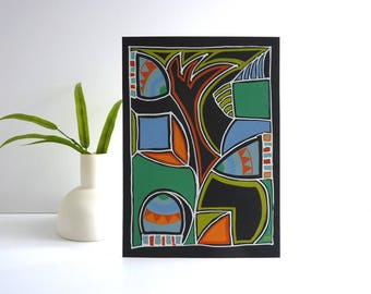 Art Deco modern art painting, original, bold contemporary artwork on black card