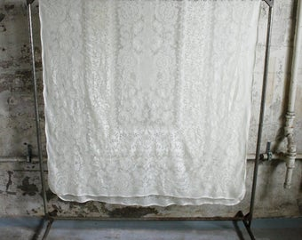 Vintage Cream Lace Table Cloth / Long Lace Curtain / Panel