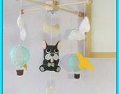 Dog mobile, Pet Mobile, Puppy Mobile, Nursery Decor, French Bulldog Mobile, Hot Air Balloon and Dog Mobile, Custom Made Pets Mobile