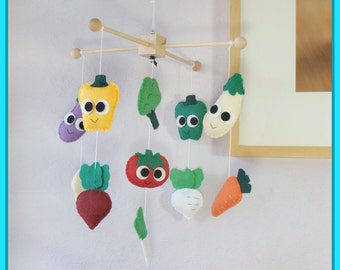 Vegetable Baby Mobile, Adorable Veggies Nursery Mobile, Baby Crib Mobile, Kids Playroom Decor, Colorful Veggie Theme