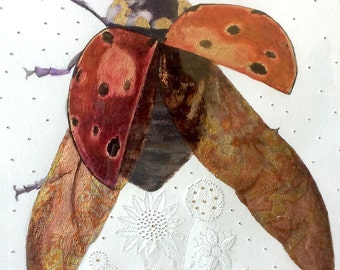 Lady Bug with Gold Leaf, Acrylics and Picote, Illustration of a Lady Bug, Red and Gold Fine Art