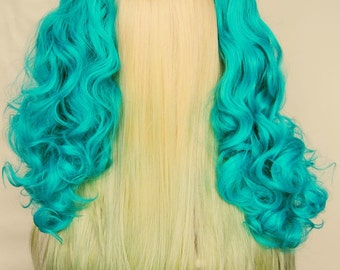Sale - Hair Ponytail / Track // For Extensions, Fringe, Clip ins and Dolls // Teal Curly Synthetic Fiber