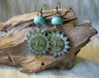 Summer Sun patina dangle earrings