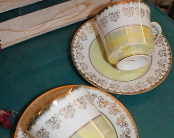 Pair of Gold & White Coffee or Tea Cups