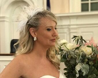 Fascinator, Wedding Headpiece, Feather Bridal Hair Clip, Rhinestone Bridal Clip, Bridal Hair Comb, Wedding Hair Comb,  Wedding Hair Clip