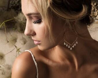Moonstone Chandelier Earrings, Moonstone Hoops, Lotus Petal Earrings, Rainbow Moonstone Chandelier, Bohemian Gemstone Hoops