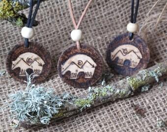 Bear Totem Pendant, amulet, pyrographed, Birch, First Nation Inspired. Shamman, Tribal, Medicine Woman, Boho OOAK,