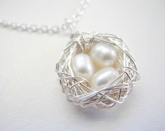 Bird Nest Jewelry, Three 6-7mm White Cultured Freshwater Pearls Wire Wrapped Nested Egg Necklace