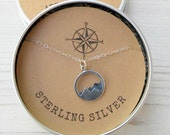 Moutain Range Sterling Silver Charm  Pendant Necklace