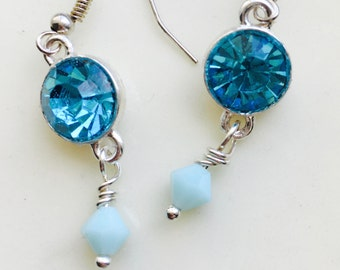 Aqua Blue Swarovski Crystal Earrings, Silver Earrings, Teal Earrings, Blue Earrings, Aquamarine Crystal Earrings