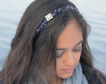 Navy Blue Beaded Headband - Navy Headband - Crystal Headband - Rhinestone Headband - Bridesmaid Headband - New Year's Eve - No Headaches