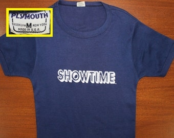Showtime graphic vintage t-shirt XS navy blue 70s soft thin Plymouth brand Brooklyn New York