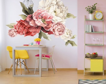Giant Peony Wall Stickers - Floral Wall Mural - Watercolor Peony Wallpaper Mural - Peel & Stick Removable Wall Decals - Removable Wallpaper