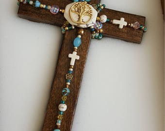 """Cross, Unique, Wooden, Tree of Life, Home Decor, for Wall, Decorative, """"Blessing Cross"""", in Gift Box"""