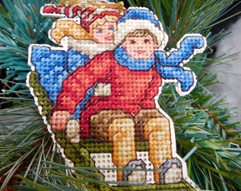 Victorian Sledding Children Cross Stitch Ornament