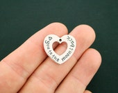 4 Love You to the Moon and Back Charms Antique Silver Tone Open Heart Design - SC6224
