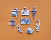 Nurse Charm Collection Antique Silver Tone 8 Different Charms - COL012 NEW2