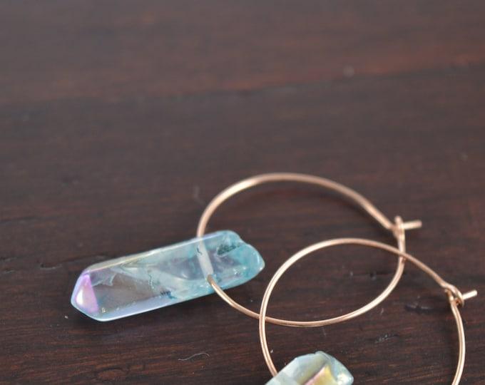 Blue Polished Crackle Aura Quartz Crystal Hoop Earrings
