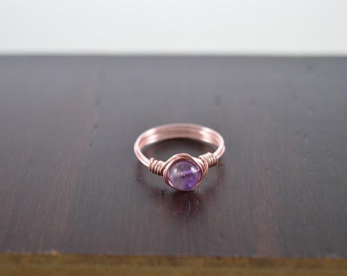 Amethyst Ring, Amethyst Gemstone Crystal Ring, February Birthstone, Amethyst Jewelry, Amethyst Wire Wrapped Ring, Rose Gold Gemstone Ring