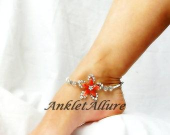 Flower Anklet Ankle Bracelet Rhinestone Body Jewelry Beach Wedding Foot Jewelry