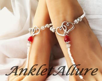 Ruby Red Barefoot Sandals Anklets Barefoot Bride Ankle Bracelets Beach Anklets Body Jewelry