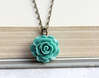 Deep Teal Rose Necklace Vintage Inspired Floral Jewellery Bridesmaids Gift Flower Pendant Romantic Country Chic Womens Jewelry Gift for Her