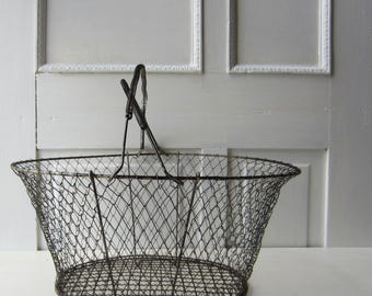"Large Vintage Metal Wire Basket with Handles -  Collapsible - Black/ Silver - Vintage Home Decor - Centerpiece - Storage - 16 1/2"" x 15"""